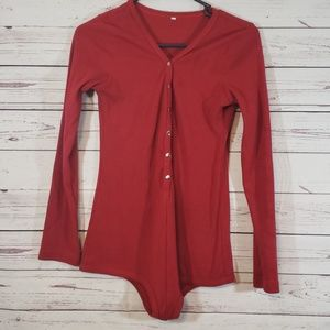 Tops - Red Long Sleeve Front Button Bodysuit sz Large